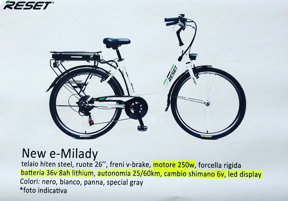 E Bike Reset New E Milady 250w 36v 8ah Litio Auto Maiello Vendita